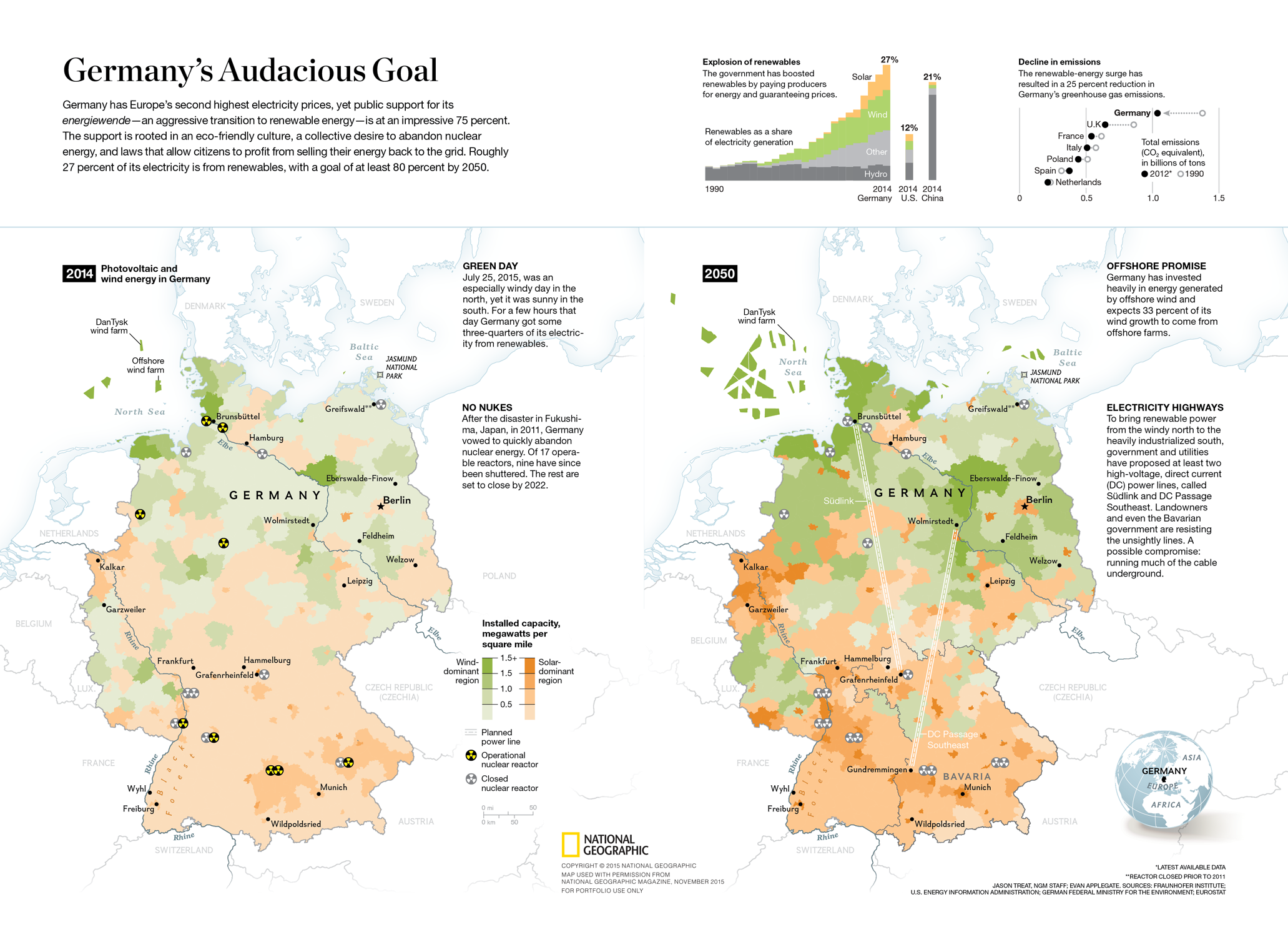Map and data visualization for National Geographic – Germany's Energy Revolution
