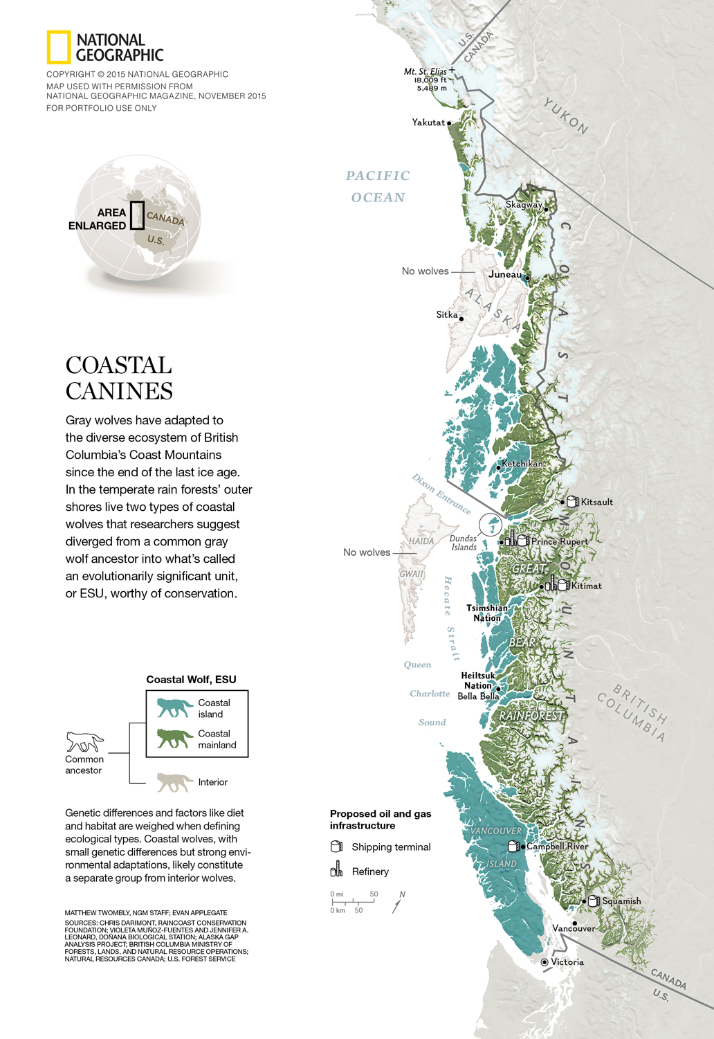 National Geographic map and data visualization – The Coastal Wolves of British Columbia