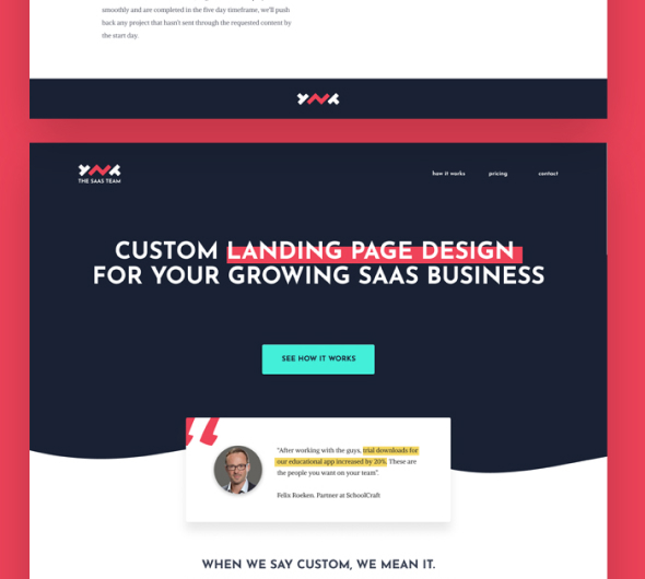 Custom landing page design example