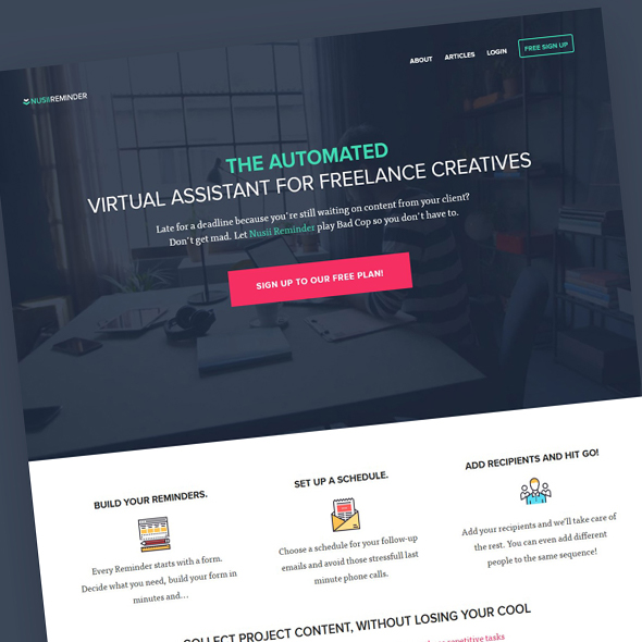 Example of a landing page design
