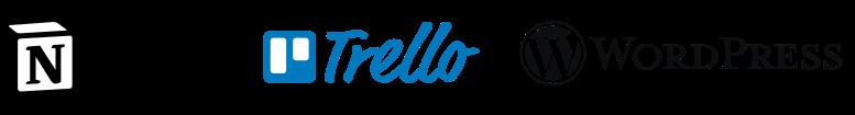 logo outils notion trello wordpress