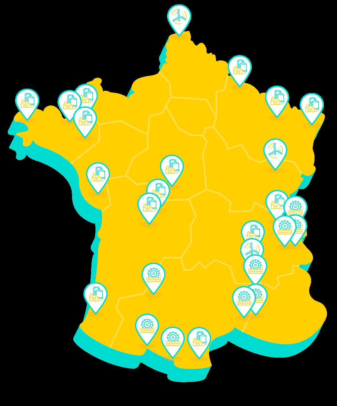 carte de france producteur d'energies renouvelable